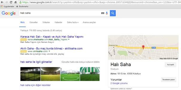 Google Aramalarında Haritalı Sonuçlar